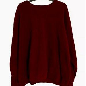 LL Bean Pullover Fleece Maroon Sweater Size 2XL